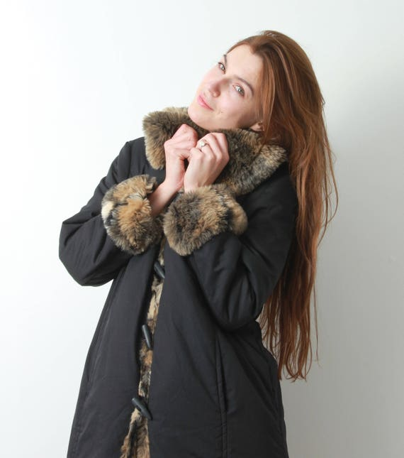 Long Coat Black Coat Fur Coat Winter Winter Woman Faux Winter Black Parka Parka Maxi Parka Large Black Coat Details Black Vintage q7wIpxtg