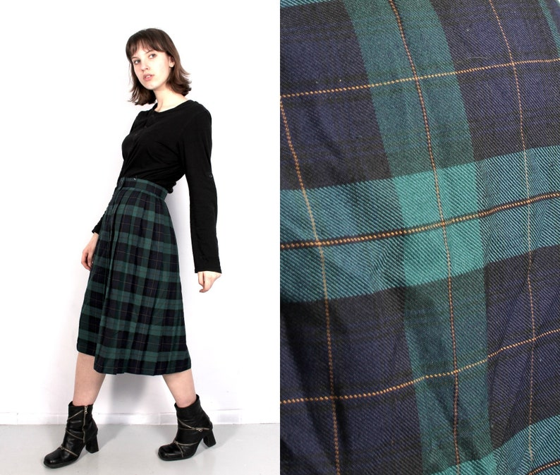 90474bc2d Vintage Black Green Plaid Skirt / Tartan Skirt / Etcetera | Etsy