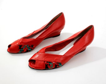 Vintage Red Leather Shoes Size 40 EU / 9 US