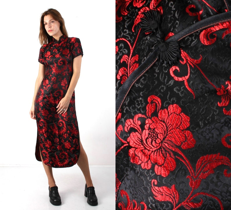 f71d31a37 Cheongsam Dress / Silk Dress / Plum Blossom China Dress / | Etsy