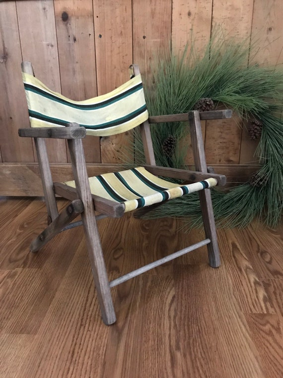Vintage Folding Chair Childs Wooden Folding Camp Chair Beach Chair