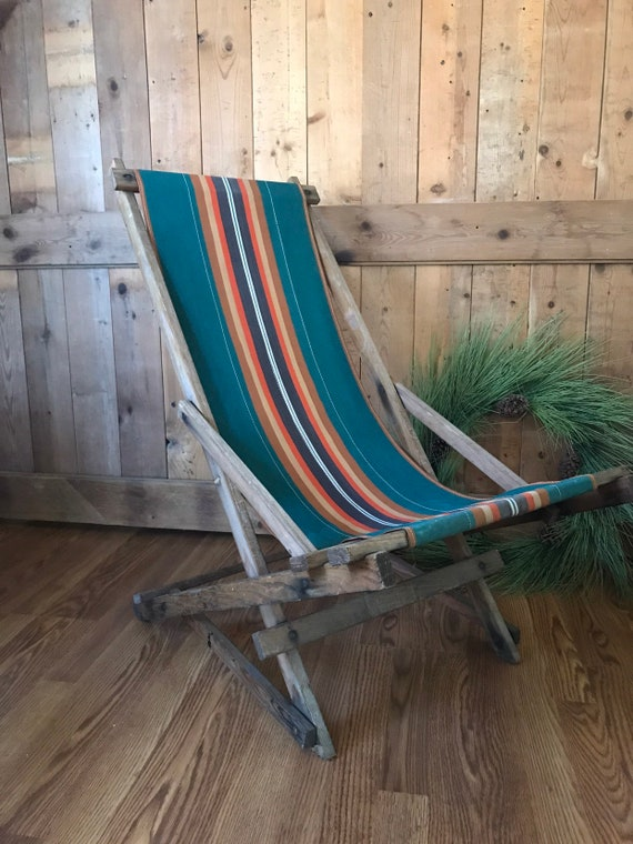 Vintage Folding Camp Chair Resort Rocking Reclining Sling Back Vintage  Folding Beach Chair vintage wooden Deck Chair