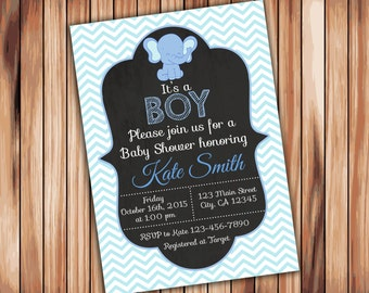 3769891ec Elephant Baby Shower Boy Chevron Invitation -Digital Printable Invitation -  Blue Babyshower -Personalized Printable Baby Shower (009)