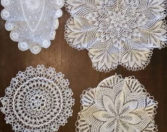 Beautiful assortment  of handmade vintage doilies to give your home that special look. Perfect condition and freshly laundered just for you!