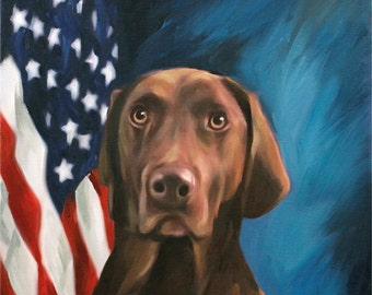 Custom Dog Portrait on Canvas Hand Painted with Presidential United States Flag Background