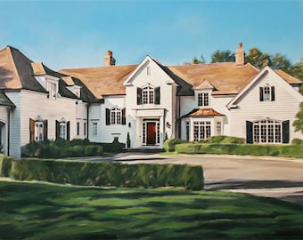 Personalized House Portrait - Custom Home Painting from Photos - Hand Painted Art