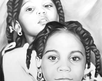 Art Commission Painting -  Custom portrait on canvas from photo kids children