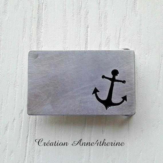 Anchor belt buckle :  Aluminium - Boat - Sailboat - Captain - Sailor -  Nautical - Marine - Boating - Accessories - Decoration