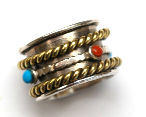 Sterling Turquoise Coral  Spinner ring  - size  8 - Twisted Brass  - Silver band ring - Gift for her - Boho