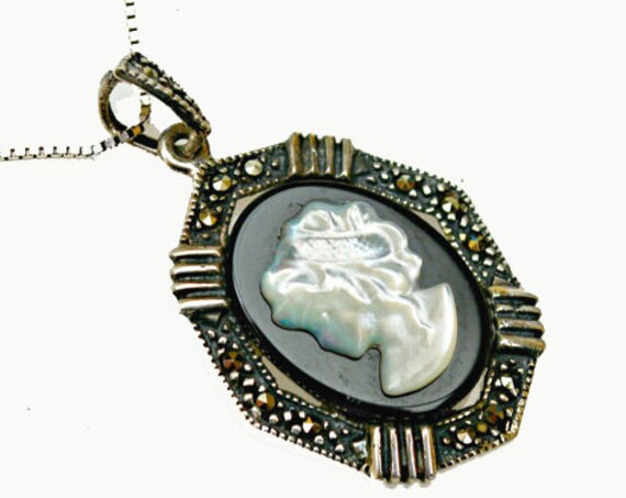 Cameo necklace - Sterling Silver Marcasite - White Mother of Pearl - black  Onyx - Women profile