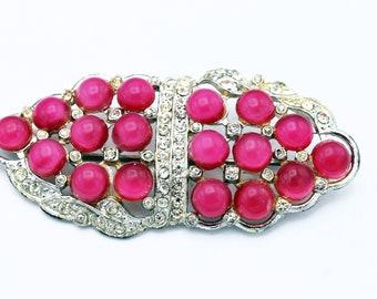 Edwardian pink saphiret crystal and pearl bar brooch.