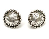Sterling Concha Round button Stud earrings southwestern tribal domed round silver pierced earring