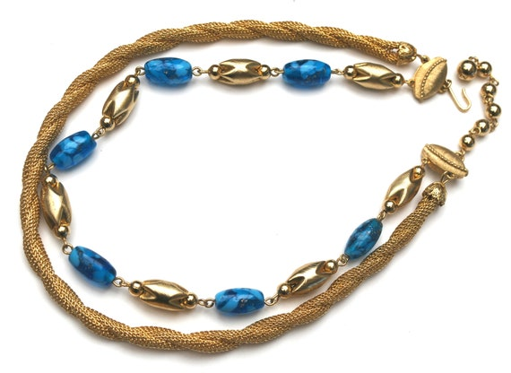 Gold blue glass necklace -  gold mesh ropr - blue art glass beads - statement necklace