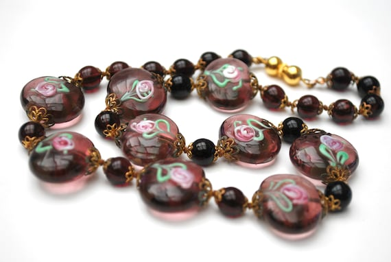 Purple Italian Bead necklace  - Wedding cake - floral pink green white flowers -   Glass beads - maroon Crystal  - Venetian - Murano -