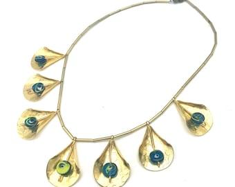 artistic gold Glass necklace tear shape blue yellow art Italian glass