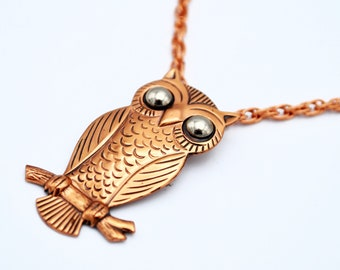 Copper Owl  pendant necklace  Bell Trading Post Company silver hemalite eyes  tribal Southwest  Boho