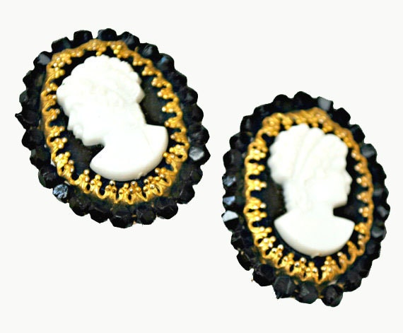 Cameo Earrings -  Original by Robert -  Black White and Gold - Clip on earring