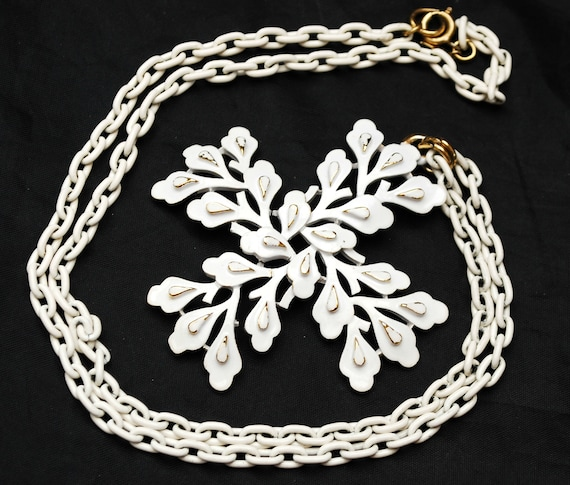 Crown Trifari White Enamel Pendant Necklace - Maltese cross- white over gold enameling