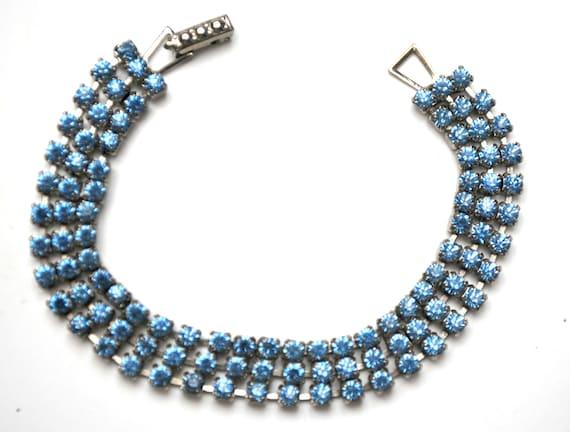 Rhinestone Bracelet - Light blue Crystal  - silver setting - Mid Century Tennis Bracelet