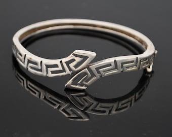 Sterling Greek Key  wave   Bracelet    Sterling  Silver open work Modernistic  Hinged Bangle
