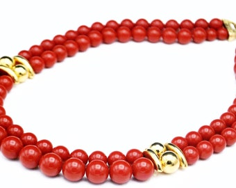 Napier  Red Gold bead Necklace  Gold metal  cdouble strand collar necklace