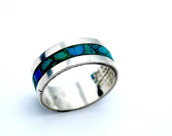 Mexico sterling Turquoise chip inlay band ring size 7  Southwestern boho gift for him