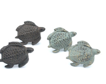 Cast Iron Sea Turtle Drawer Pull Cabinet Knob Handle Beach Decor iron rust brown and Distressed green