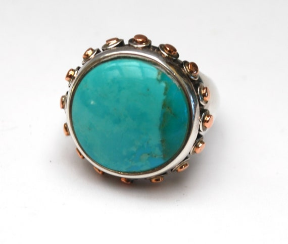 Sterling  Turquoise Ring Large round  blue Gemstone copper  studs  size 10 1/2