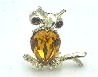 Vintage Owl brooch orange rhinestone crystal signed  DODDS bird pin