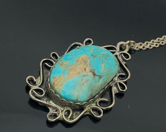 Navajo Turquoise  Sterling silver  pendant necklace blue gemstone silver chain southwestern Native American Old pawn