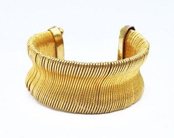 Wide Gold cuff Bracelet chunky gold tone wire wrap Bangle