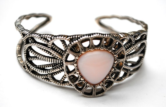 Barse  sterling Cuff -Pink Opal  Gemstone - open work setting - Silver light pink Bangle Bracelet