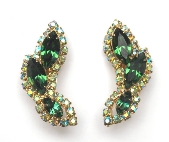 Rhinestone Climbing earrings -Green and aurora borealis  crystal - Mid century large clip on earrings
