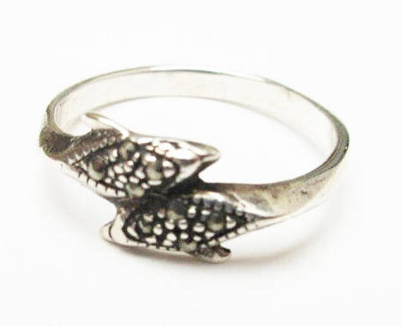 Sterling Dolphin Ring  - Silver studs - marcasites - size  8 1/2 figurine fish ring