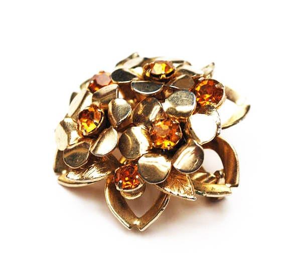 Coro Rhinestone Brooch - Amber orange Glass  - Layerd domed  - Flower Floral - Atomic -  mid Century  pin