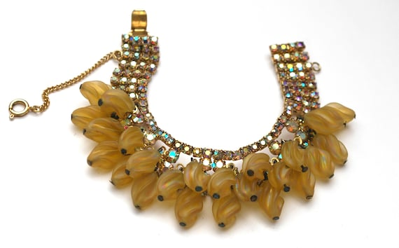 yellow glass dangle  Rhinestone  Bracelet  cha cha  Aurora Borealis crystal