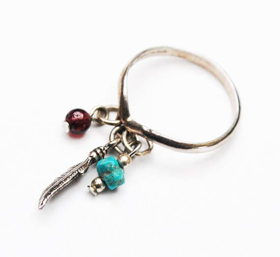 Sterling ring - Dangle Gemstone beads - Signed -  turquoise Garnet- feather - size 6 ring -South Western - Native American