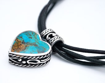 Turquoise  Sterling silver Heart pendant necklace blue gemstone triple black strand   necklace