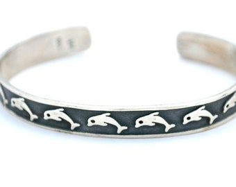 Dolphin Sterling Cuff Bracelet Signed Mexico embossed fish black oxidation