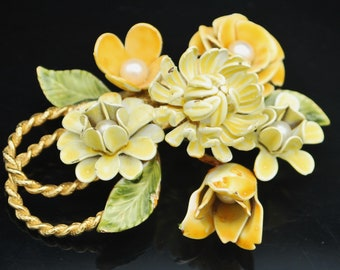 Yellow  Flower Brooch signed Corocraft  light greenish yellow  enameling white pearls floral pin