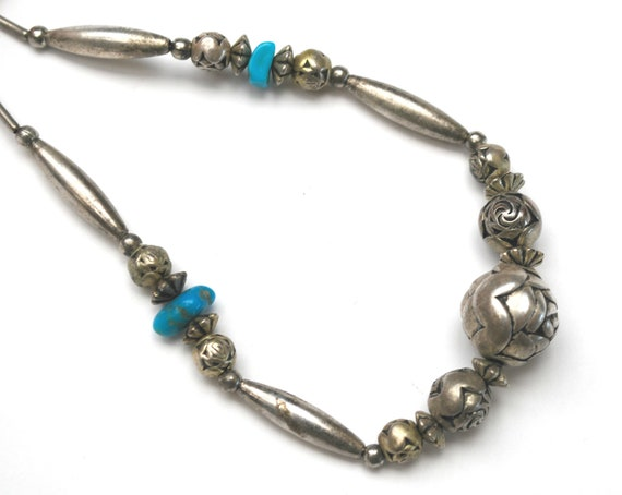 Boho Turquoise Blue  sterling  bead necklace  - silver flower bead - southwestern