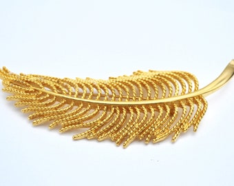 large Monet feather  Brooch  Gold  Leaf Feather 3 inch pin