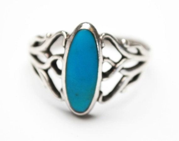 Turquoise ring Sterling  size 8  Signed KBN Kabana silver filigree ring