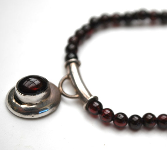 Garnet  Bead sterling Pendant Necklace - Red rhodalite gemstone - modern silver pendant necklace