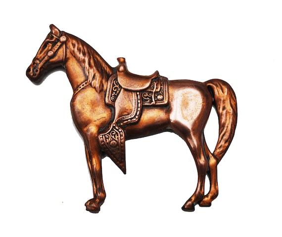 Copper Horse  Brooch Western   Equestrian   Southwestern Pin