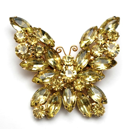 Yellow  Butterfly rhinestone brooch  signed Weiss yellow crystal gold metal