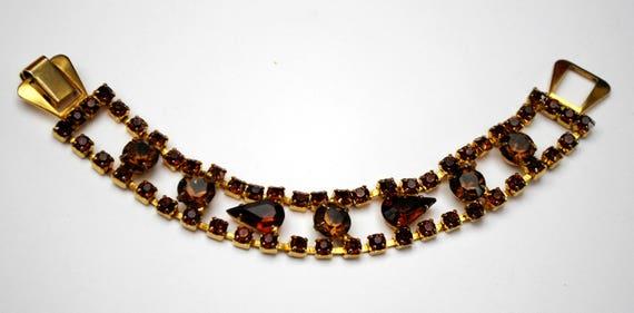 Rhinestone Link Bracelet  Root beer Brown Crystal  Yellow Gold Mid century Tennis bracelet