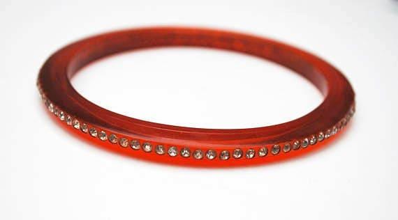 Red Lucite  Rhinestone Bangle   thin plastic  clear crystal   vintage Bracelet