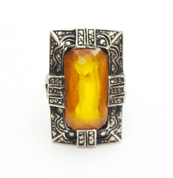 Amber Glass  Ring   10 kt gold Sterling Silver  marcasite size 6 ring