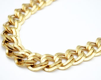 Monet Necklace  chunky gold inter locking double  link  chain gift for her choker  21 inch  chain necklace